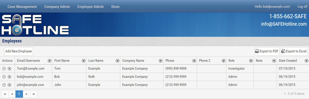 Safe Hotline Ethics Reporting Employee Admin Screenshot