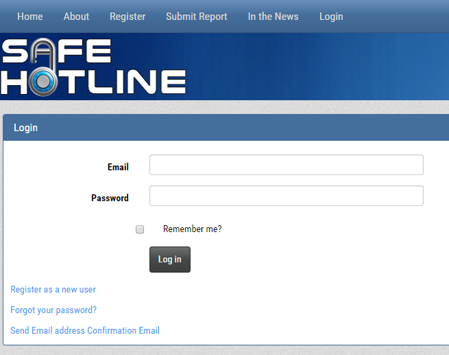 Safe Hotline Login Screenshot