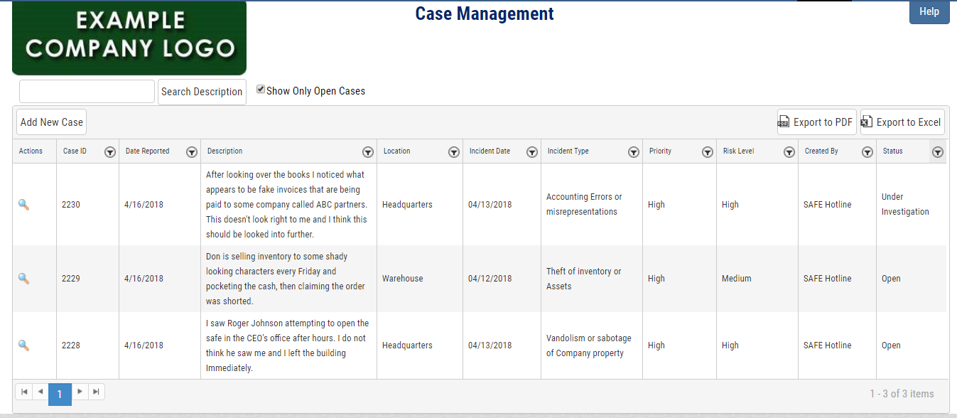 Safe Hotline Ethics Reporting Case Management Summary Screenshot